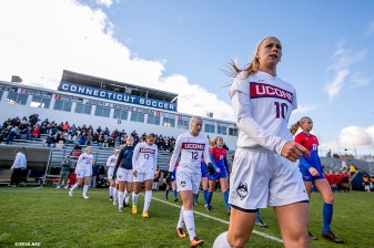 November 6, 2016, Storrs, CT: Starting lineups are introduced before the American Athletic Conference Championship game between University of Connecticut and Southern Methodist University at Morrone Stadium in Storrs, Connecticut Sunday, November 6, 2016. (Photos by Billie Weiss/American Athletic Conference)