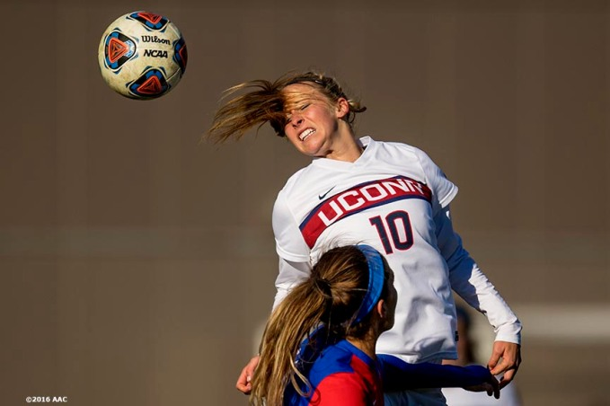 November 6, 2016, Storrs, CT: Game action during the American Athletic Conference Championship game between the University of Connecticu and Southern Methodist University at Morrone Stadium in Storrs, Connecticut Sunday, November 6, 2016. (Photos by Billie Weiss/American Athletic Conference)