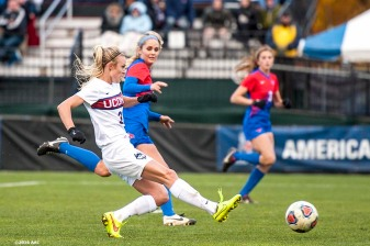 November 6, 2016, Storrs, CT: Rachel Hill of University of Connecticut scores a goal during the American Athletic Conference Championship game against Southern Methodist University at Morrone Stadium in Storrs, Connecticut Sunday, November 6, 2016. (Photos by Billie Weiss/American Athletic Conference)