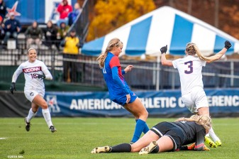 November 6, 2016, Storrs, CT: Rachel Hill of University of Connecticut reacts after scoring a goal during the American Athletic Conference Championship game against Southern Methodist University at Morrone Stadium in Storrs, Connecticut Sunday, November 6, 2016. (Photos by Billie Weiss/American Athletic Conference)