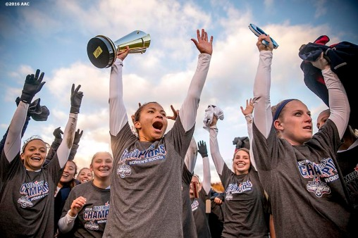 November 6, 2016, Storrs, CT: Members University of Connecticut celebrate after defeating Southern Methodist University in the American Athletic Conference Championship game at Morrone Stadium in Storrs, Connecticut Sunday, November 6, 2016. (Photos by Billie Weiss/American Athletic Conference)