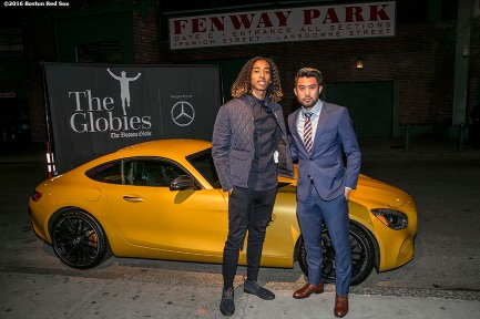 November 14, 2016, Boston, MA: New England Revolution players Zachary Herivaux and Lee Nguyen pose with a Mercedes-Benz during The Globies Awards at House of Blues in Boston, Massachusetts Monday, November 14, 2016. (Photo by Billie Weiss/Boston Red Sox)