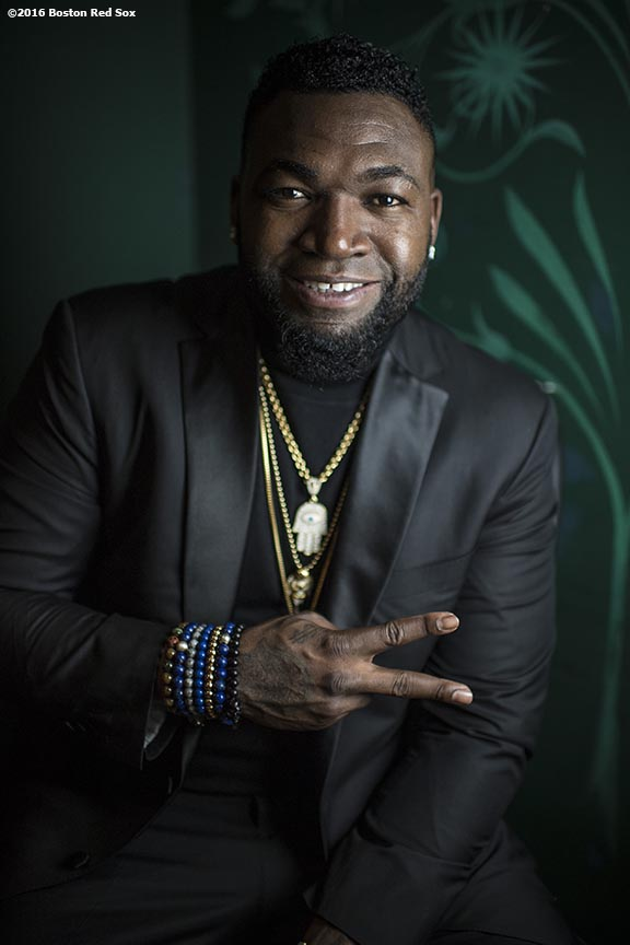 November 14, 2016, Boston, MA: Former Boston Red Sox designated hitter David Ortiz poses for a portrait backstage during The Globies Awards at House of Blues in Boston, Massachusetts Monday, November 14, 2016. (Photo by Billie Weiss/Boston Red Sox)