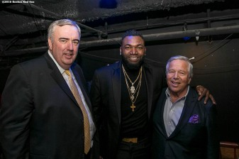 November 14, 2016, Boston, MA: Former Boston Police Commissioner Ed Davis, former Boston Red Sox designated hitter David Ortiz, and New England Patriots owner Robert Kraft pose backstage during The Globies Awards at House of Blues in Boston, Massachusetts Monday, November 14, 2016. (Photo by Billie Weiss/Boston Red Sox)