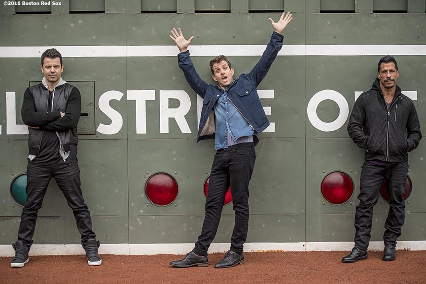 November 16, 2016, Boston, MA: Jordan Knight, Joey McIntyre, and Danny Wood of New Kids On The Block pose for a photograph in front of the Green Monster to promote their upcoming concert at Fenway Park in Boston, Massachusetts Wednesday, November 16, 2016. (Photo by Billie Weiss/Boston Red Sox)