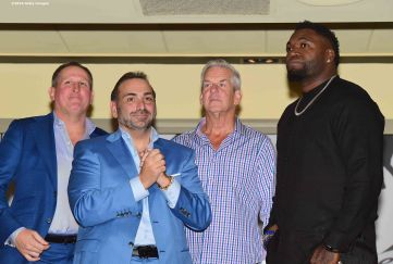 BOSTON, MA - NOVEMBER 07: Boston Common Magazine Publisher Glenn Kelley, Nick Varano of Strega, Comedian Lenny Clarke, and David Ortiz of the Boston Red Sox attend a Boston Common Magazine event at Strega Waterfront on November 7, 2016 in Boston, Massachusetts. (Photo by Billie Weiss/Getty Images for Boston Common Magazine)