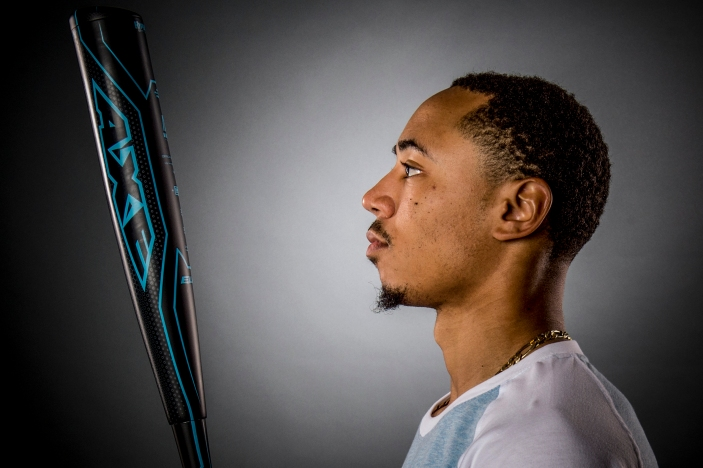 May 25, 2016, Boston, MA: Boston Red Sox right fielder Mookie Betts poses for a photograph for Axe Bats at Fenway Park in Boston, Massachusetts Wednesday, May 25, 2016. (Photo by Billie Weiss)