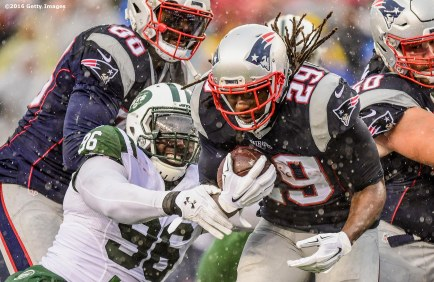 FOXBORO, MA - DECEMBER 24: LeGarrette Blount #29 of the New England Patriots carries the ball during the first quarter of a game against the New York Jets at Gillette Stadium on December 24, 2016 in Foxboro, Massachusetts. (Photo by Billie Weiss/Getty Images) *** Local Caption *** LeGarrette Blount