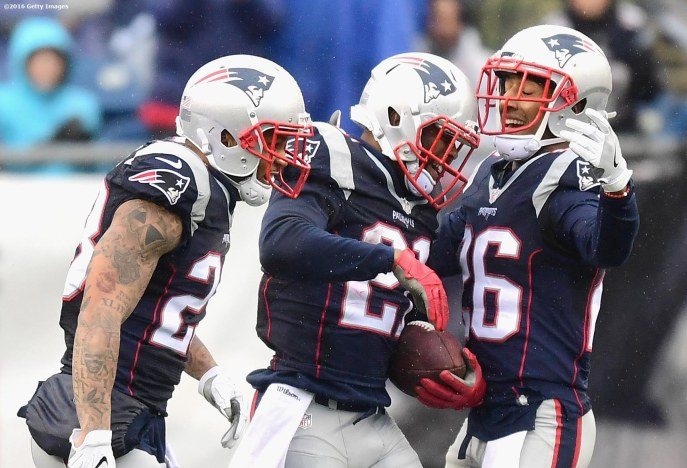 FOXBORO, MA - DECEMBER 24: Malcolm Butler #21 of the New England Patriots reacts with Patrick Chung #23 and Logan Ryan #26 after recovering a fumble during the second quarter of a game against the New York Jets at Gillette Stadium on December 24, 2016 in Foxboro, Massachusetts. (Photo by Billie Weiss/Getty Images) *** Local Caption *** Malcolm Butler; Patrick Chung; Logan Ryan