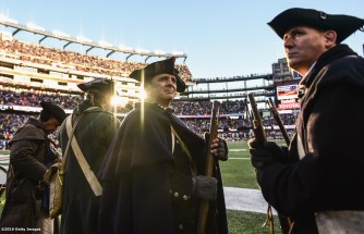 FOXBORO, MA - DECEMBER 24: Members of the End Zone Militia look on during a game between the New England Patriots and the New York Jets at Gillette Stadium on December 24, 2016 in Foxboro, Massachusetts. (Photo by Billie Weiss/Getty Images)