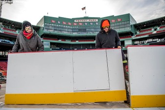 December 19, 2016, Boston, MA: Boards are installed around the rink in preparation for Frozen Fenway at Fenway Park in Boston, Massachusetts Monday, December 19, 2016. (Photo by Billie Weiss/Boston Red Sox)