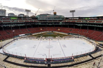 January 4, 2017, Boston, MA: An aerial view of the rink is shown during Capital One Frozen Fenway 2017 at Fenway Park in Boston, Massachusetts Wednesday, January 4, 2017. (Photo by Billie Weiss/Boston Red Sox)