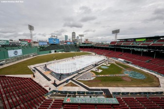January 4, 2017, Boston, MA: A general view of the rink is shown during Capital One Frozen Fenway 2017 at Fenway Park in Boston, Massachusetts Wednesday, January 4, 2017. (Photo by Billie Weiss/Boston Red Sox)