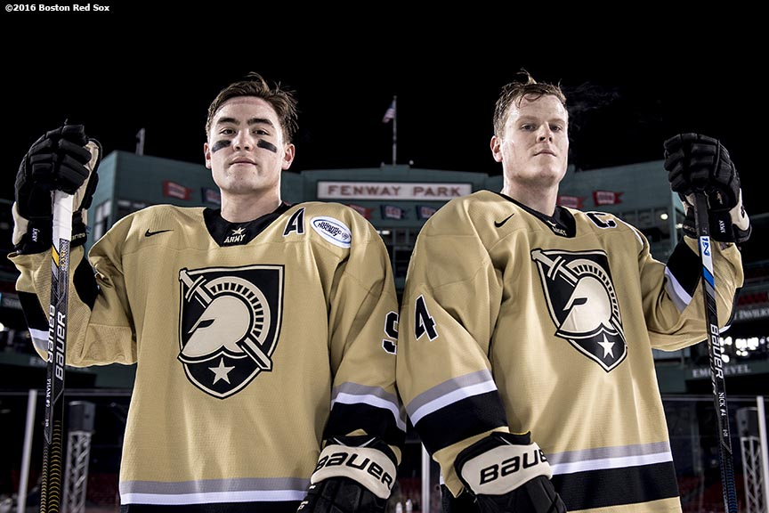 BOSTON, MA - JANUARY 05: Tyler Pham #9 and Ryan Nick #4 of Army pose for a portrait before a Frozen Fenway game against Bentley University at Fenway Park on January 5, 2017 in Boston, Massachusetts. (Photo by Billie Weiss/Boston Red Sox/Getty Images) *** Local Caption *** Tyler Pham; Ryan Nick