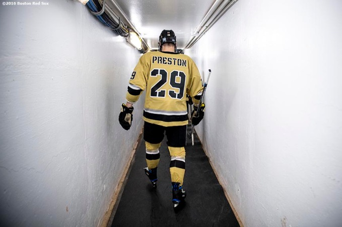 BOSTON, MA - JANUARY 05: Mike Preston #29 of Army walks through the tunnel before a Frozen Fenway game against Bentley University at Fenway Park on January 5, 2017 in Boston, Massachusetts. (Photo by Billie Weiss/Boston Red Sox/Getty Images) *** Local Caption *** Mike Preston