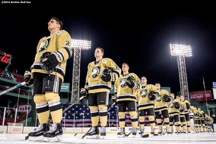 BOSTON, MA - JANUARY 05: Members of Army look on during the National Anthem before a Frozen Fenway game against Bentley University at Fenway Park on January 5, 2017 in Boston, Massachusetts. (Photo by Billie Weiss/Boston Red Sox/Getty Images)