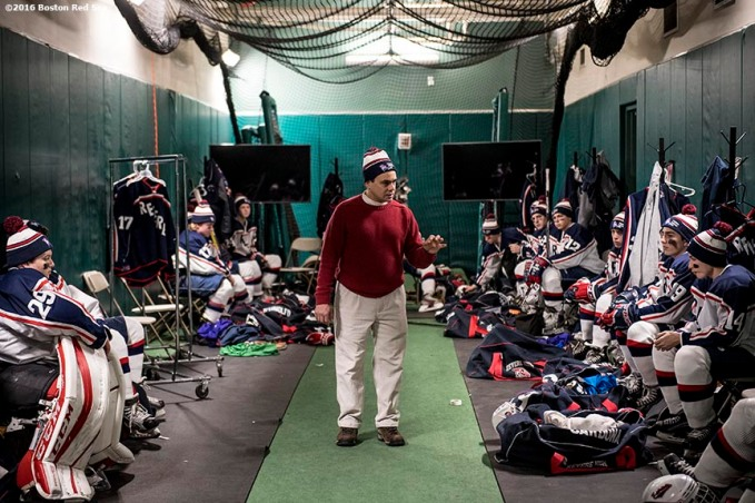 January 5, 2017, Boston, MA: The coach talks to the Revere High School team in the locker room before a game against Pembroke during Capital One Frozen Fenway 2017 at Fenway Park in Boston, Massachusetts Thursday, January 5, 2017. (Photo by Billie Weiss/Boston Red Sox)