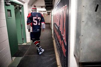 January 5, 2017, Boston, MA: A member of Pembroke High School walks through the tunnel before a game against Revere during Capital One Frozen Fenway 2017 at Fenway Park in Boston, Massachusetts Thursday, January 5, 2017. (Photo by Billie Weiss/Boston Red Sox)