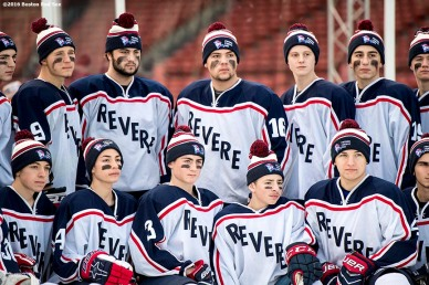 January 5, 2017, Boston, MA: Members of Revere pose for a photograph before a game against Pembroke during Capital One Frozen Fenway 2017 at Fenway Park in Boston, Massachusetts Thursday, January 5, 2017. (Photo by Billie Weiss/Boston Red Sox)