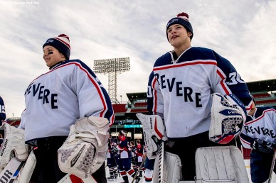 January 5, 2017, Boston, MA: Members of Revere look on before a game against Pembroke during Capital One Frozen Fenway 2017 at Fenway Park in Boston, Massachusetts Thursday, January 5, 2017. (Photo by Billie Weiss/Boston Red Sox)
