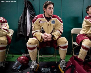 BOSTON, MA - JANUARY 08: JD Dudek #15 of Boston College looks on in the locker room before a Frozen Fenway game against Providence University at Fenway Park on January 8, 2017 in Boston, Massachusetts. (Photo by Billie Weiss/Boston Red Sox/Getty Images) ***Local Caption*** JD Dudek
