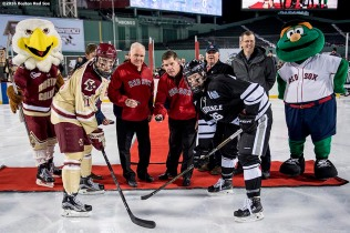 BOSTON, MA - JANUARY 08: Boston Mayor Marty Walsh and former Boston Mayor Raymond Flynn participate in a ceremonial puck drop before a Frozen Fenway game between Boston College and Providence University at Fenway Park on January 8, 2017 in Boston, Massachusetts. (Photo by Billie Weiss/Boston Red Sox/Getty Images) ***Local Caption*** Marty Walsh; Raymond Flynn