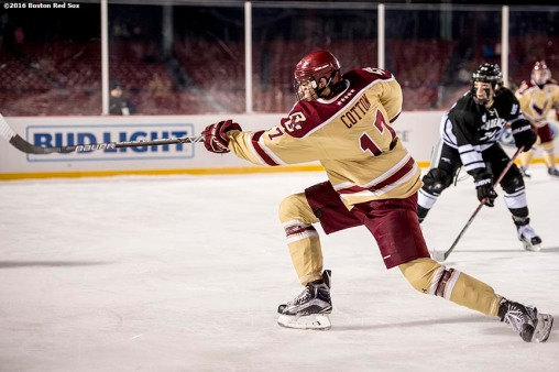 BOSTON, MA - JANUARY 08: David Cotton #17 of Boston College scores a goal during the third period of a Frozen Fenway game against Providence University at Fenway Park on January 8, 2017 in Boston, Massachusetts. (Photo by Billie Weiss/Boston Red Sox/Getty Images) ***Local Caption*** David Cotton