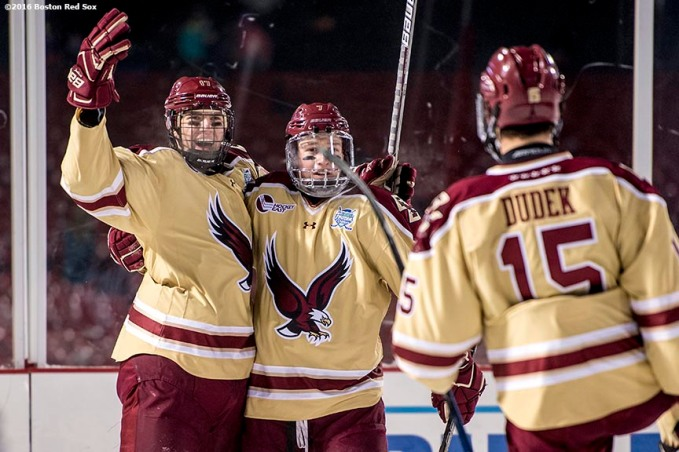 BOSTON, MA - JANUARY 08: David Cotton #17 of Boston College reacts with teammates after scoring a goal during the third period of a Frozen Fenway game against Providence University at Fenway Park on January 8, 2017 in Boston, Massachusetts. (Photo by Billie Weiss/Boston Red Sox/Getty Images) ***Local Caption*** David Cotton