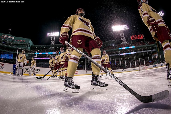 BOSTON, MA - JANUARY 08: Members of Boston College line up during the National Anthem before a Frozen Fenway game against Providence University at Fenway Park on January 8, 2017 in Boston, Massachusetts. (Photo by Billie Weiss/Boston Red Sox/Getty Images) ***Local Caption***