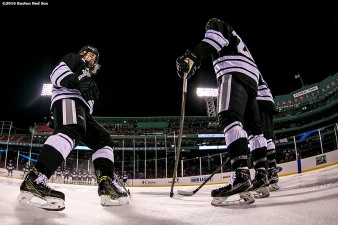 BOSTON, MA - JANUARY 08: Members of Providence College line up during the National Anthem before a Frozen Fenway game against Boston College at Fenway Park on January 8, 2017 in Boston, Massachusetts. (Photo by Billie Weiss/Boston Red Sox/Getty Images) ***Local Caption***