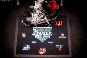 BOSTON, MA - JANUARY 08: Skates are shown before a Frozen Fenway game between Boston University and the University of Massachusetts during a Frozen Fenway game at Fenway Park on January 8, 2017 in Boston, Massachusetts. (Photo by Billie Weiss/Boston Red Sox/Getty Images)