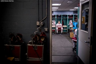 BOSTON, MA - JANUARY 08: Members of the University of Massachusetts wait in the locker room before a Frozen Fenway game against Boston University at Fenway Park on January 8, 2017 in Boston, Massachusetts. (Photo by Billie Weiss/Boston Red Sox/Getty Images)