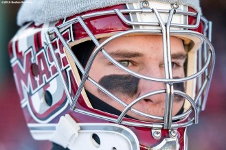 BOSTON, MA - JANUARY 08: A member of the University of Massachusetts looks on before a Frozen Fenway game against Boston University at Fenway Park on January 8, 2017 in Boston, Massachusetts. (Photo by Billie Weiss/Boston Red Sox/Getty Images)