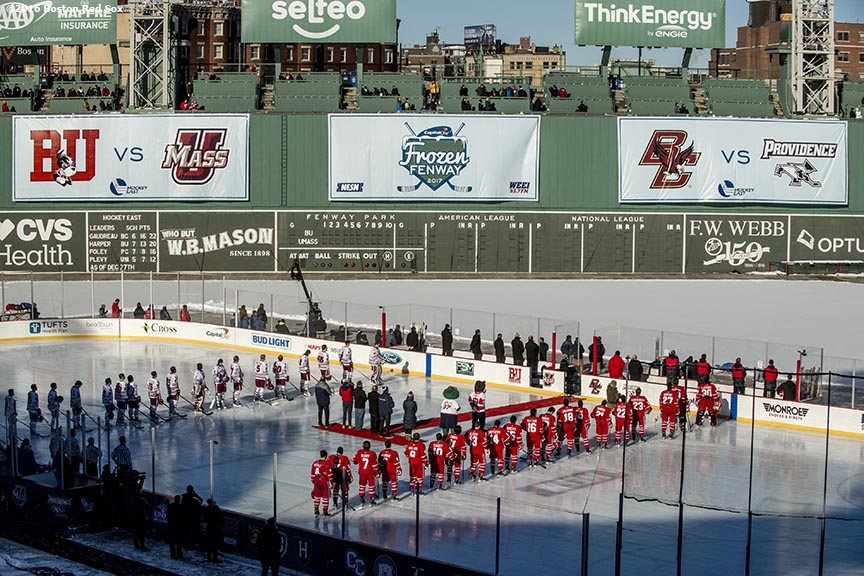 BOSTON, MA - JANUARY 08: Starting lineups are introduced before a Frozen Fenway game between Boston University and the University of Massachusetts at Fenway Park on January 8, 2017 in Boston, Massachusetts. (Photo by Billie Weiss/Boston Red Sox/Getty Images)