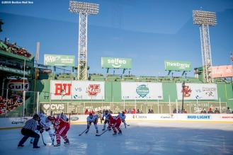 BOSTON, MA - JANUARY 08: Boston University plays the University of Massachusetts during a Frozen Fenway game at Fenway Park on January 8, 2017 in Boston, Massachusetts. (Photo by Billie Weiss/Boston Red Sox/Getty Images)