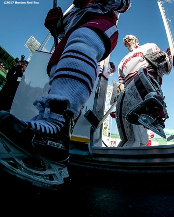 BOSTON, MA - JANUARY 08: Members of the University of Massachusetts step off the ice before a Frozen Fenway game against the Boston University at Fenway Park on January 8, 2017 in Boston, Massachusetts. (Photo by Billie Weiss/Boston Red Sox/Getty Images) *** Local Caption ***