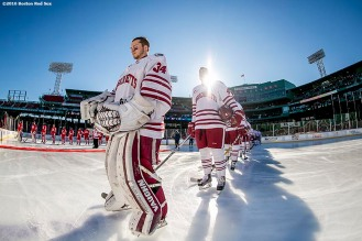 BOSTON, MA - JANUARY 08: Members of the University of Massachusetts line up during the National Anthem before a Frozen Fenway game against the Boston University at Fenway Park on January 8, 2017 in Boston, Massachusetts. (Photo by Billie Weiss/Boston Red Sox/Getty Images)