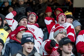 BOSTON, MA - JANUARY 08: Fans cheer as Boston University plays the University of Massachusetts during a Frozen Fenway game at Fenway Park on January 8, 2017 in Boston, Massachusetts. (Photo by Billie Weiss/Boston Red Sox/Getty Images)