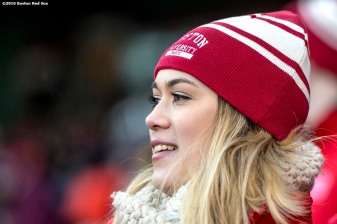 BOSTON, MA - JANUARY 08: A fan looks on as Boston University plays the University of Massachusetts during a Frozen Fenway game at Fenway Park on January 8, 2017 in Boston, Massachusetts. (Photo by Billie Weiss/Boston Red Sox/Getty Images)