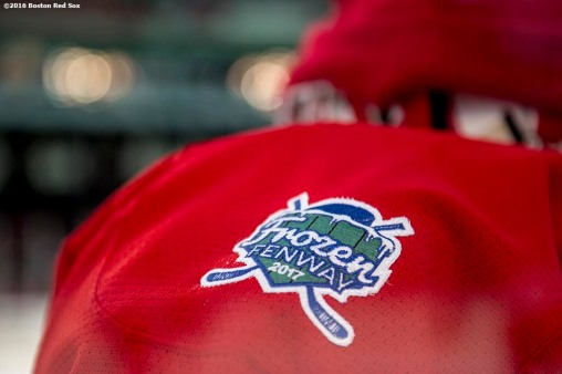 BOSTON, MA - JANUARY 08: A patch is shown as Boston University plays the University of Massachusetts during a Frozen Fenway game at Fenway Park on January 8, 2017 in Boston, Massachusetts. (Photo by Billie Weiss/Boston Red Sox/Getty Images)
