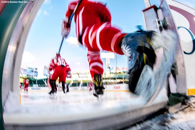 BOSTON, MA - JANUARY 08: Members of Boston University take the ice during a Frozen Fenway game against the University of Massachusetts at Fenway Park on January 8, 2017 in Boston, Massachusetts. (Photo by Billie Weiss/Boston Red Sox/Getty Images)