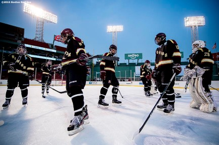 January 9, 2017, Boston, MA: Members of BC High are introduced before a game against Catholic Memorial during Capital One Frozen Fenway 2017 at Fenway Park in Boston, Massachusetts Monday, January 9, 2017. (Photo by Billie Weiss/Boston Red Sox)