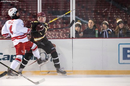 January 9, 2017, Boston, MA: Game action during a game between BC High and Catholic Memorial during Capital One Frozen Fenway 2017 at Fenway Park in Boston, Massachusetts Monday, January 9, 2017. (Photo by Billie Weiss/Boston Red Sox)
