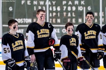 January 10, 2017, Boston, MA: Members of Boston Latin are introduced before a game against East Boston during Capital One Frozen Fenway 2017 at Fenway Park in Boston, Massachusetts Wednesday, January 11, 2017. (Photo by Billie Weiss/Boston Red Sox)