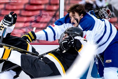 January 10, 2017, Boston, MA: Game action during a game between East Boston and Boston Latin during Capital One Frozen Fenway 2017 at Fenway Park in Boston, Massachusetts Wednesday, January 11, 2017. (Photo by Billie Weiss/Boston Red Sox)