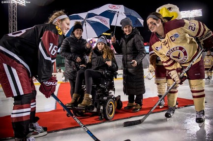 January 10, 2017, Boston, MA: Boston Pride player Denna Laing participates in the ceremonial puck drop before a game between Harvard University and Boston College during Capital One Frozen Fenway 2017 at Fenway Park in Boston, Massachusetts Tuesday, January 10, 2017. (Photo by Billie Weiss/Boston Red Sox)