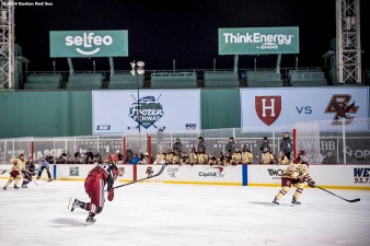 January 10, 2017, Boston, MA: Game action during a game between Harvard University and Boston College during Capital One Frozen Fenway 2017 at Fenway Park in Boston, Massachusetts Tuesday, January 10, 2017. (Photo by Billie Weiss/Boston Red Sox)