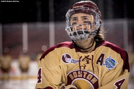 January 10, 2017, Boston, MA: A member of Boston College is introduced before a game against Harvard during Capital One Frozen Fenway 2017 at Fenway Park in Boston, Massachusetts Tuesday, January 10, 2017. (Photo by Billie Weiss/Boston Red Sox)