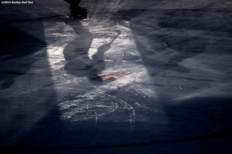 BOSTON, MA - JANUARY 14: Johnny Austin #6 of the University of Connecticut handles the puck during a Frozen Fenway game against the University of Maine at Fenway Park on January 14, 2017 in Boston, Massachusetts. (Photo by Billie Weiss/Boston Red Sox/Getty Images) *** Local Caption *** Johnny Austin