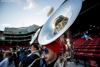 BOSTON, MA - JANUARY 14: The University of Maine band plays before a Frozen Fenway game between University of Connecticut and University of Maine at Fenway Park on January 14, 2017 in Boston, Massachusetts. (Photo by Billie Weiss/Boston Red Sox/Getty Images) *** Local Caption ***